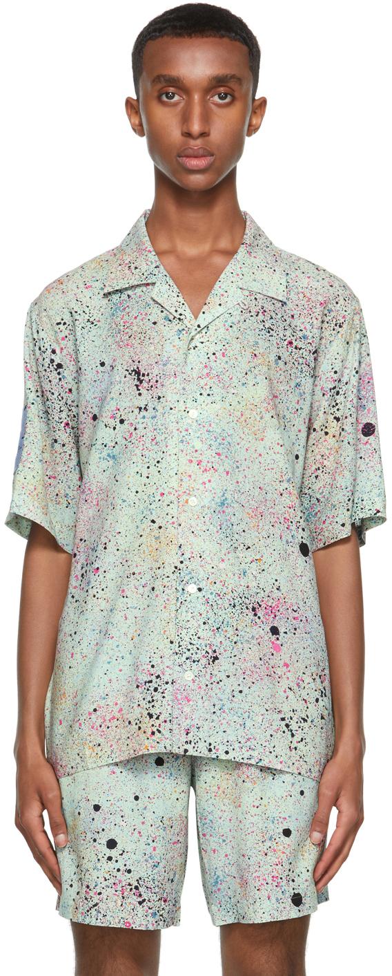 Green Paint Splatter Short Sleeve Shirt