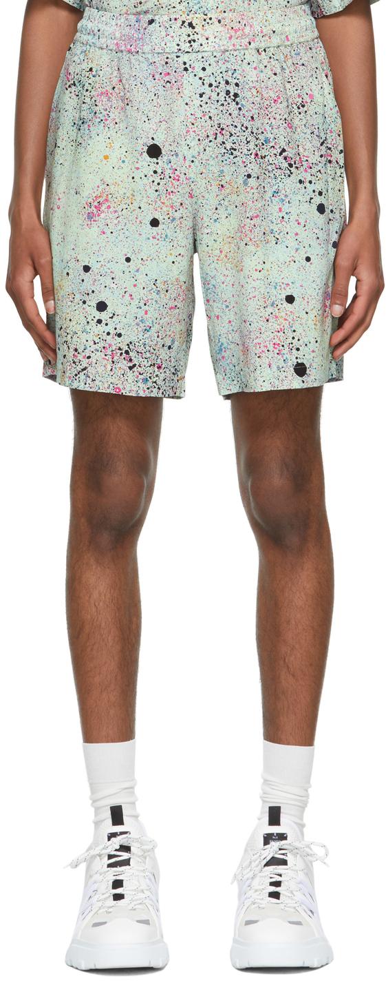 Green Paint Splatter Shorts