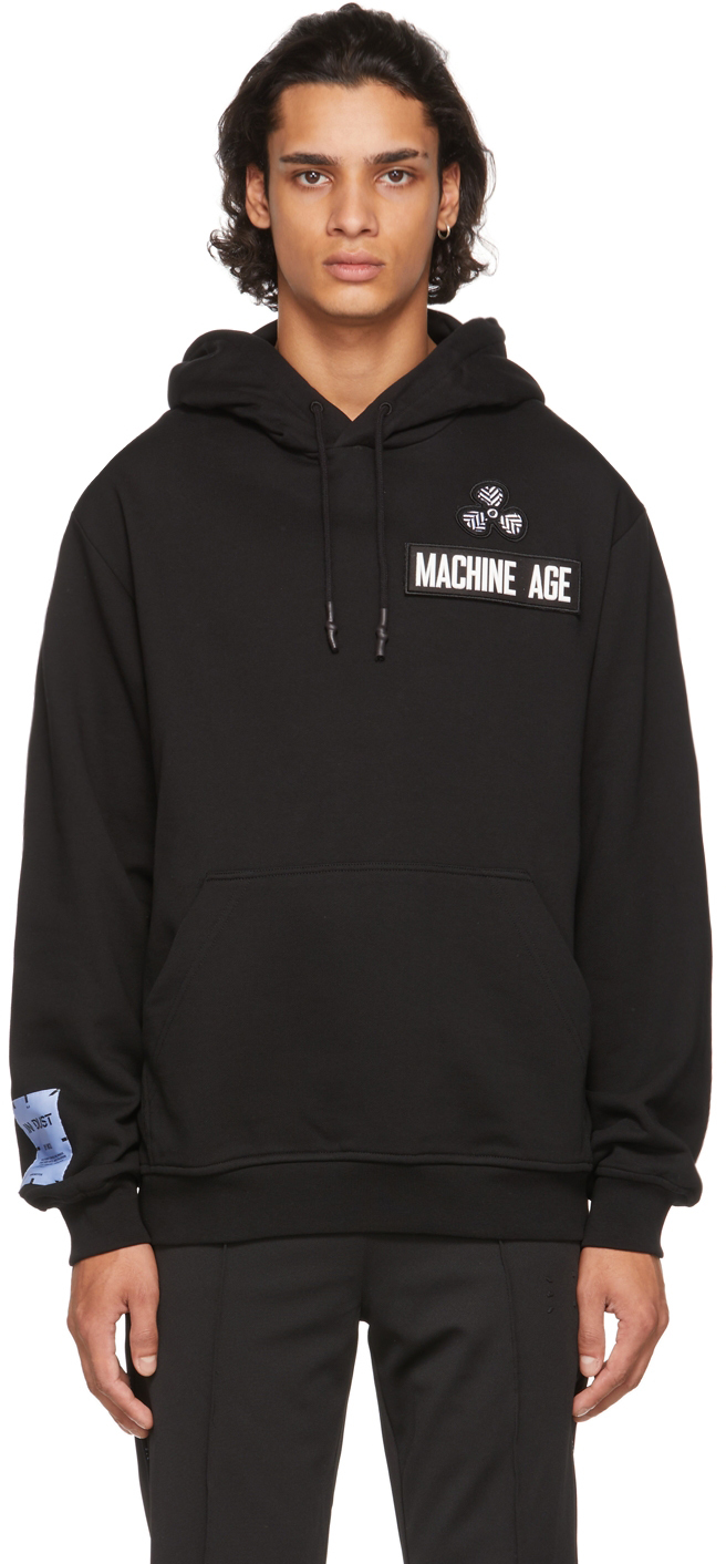 Black Patch Relaxed Hoodie