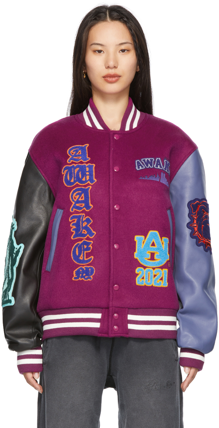 Multicolor Leather Chenille Patches Varsity Jacket