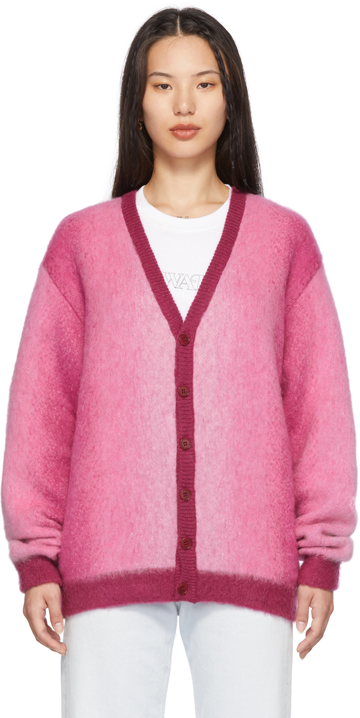 Pink Mohair Ombre Cardigan