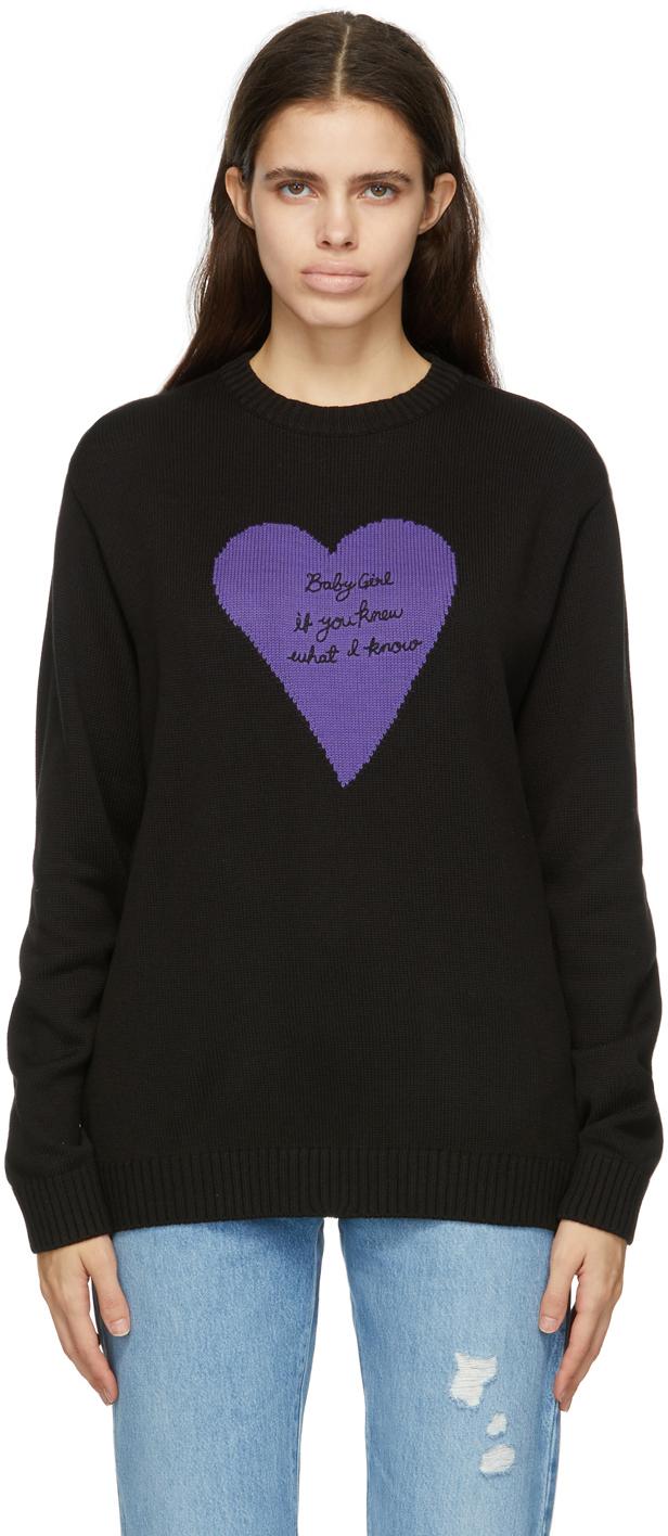 Black Cotton 'Baby Girl' Sweater
