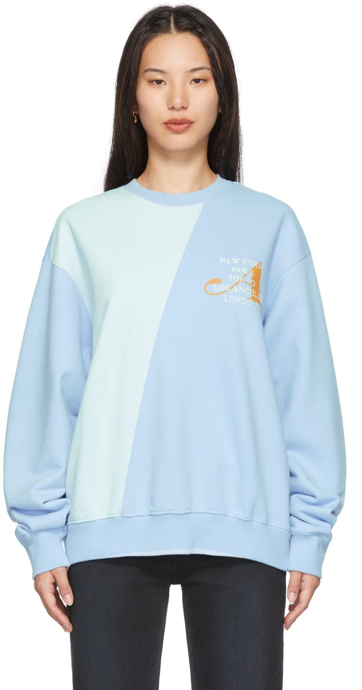 Blue Two-Tone Split City Sweatshirt