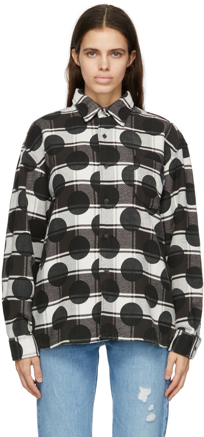 Black & White Flannel Polka Dot Shirt