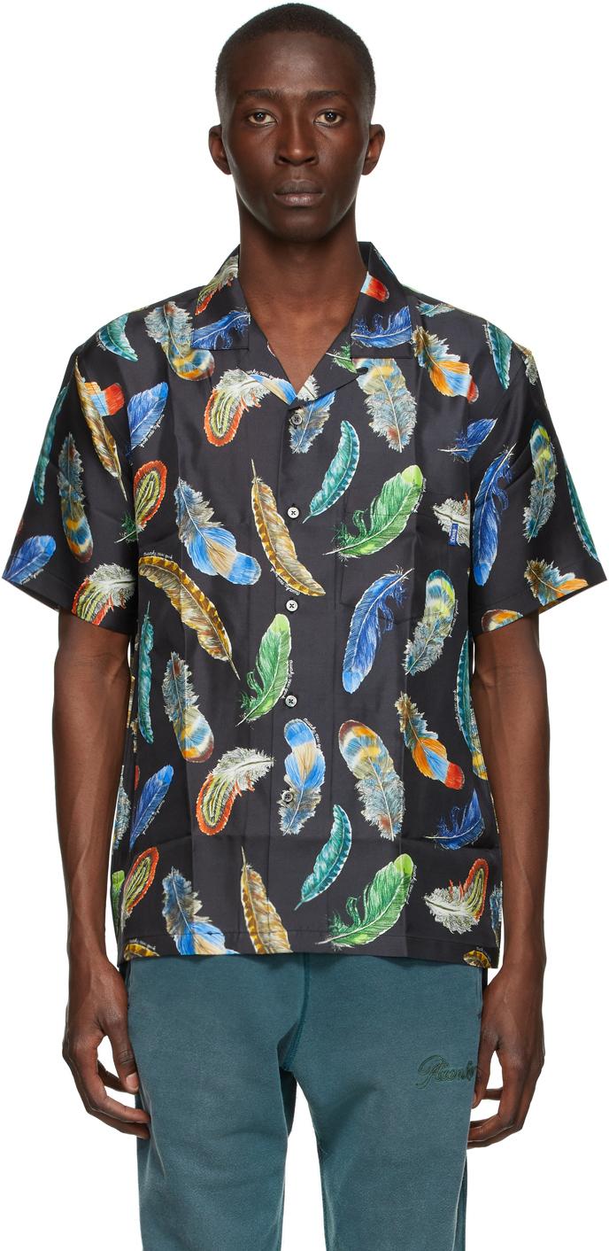 Black Silk Feathers Short Sleeve Shirt