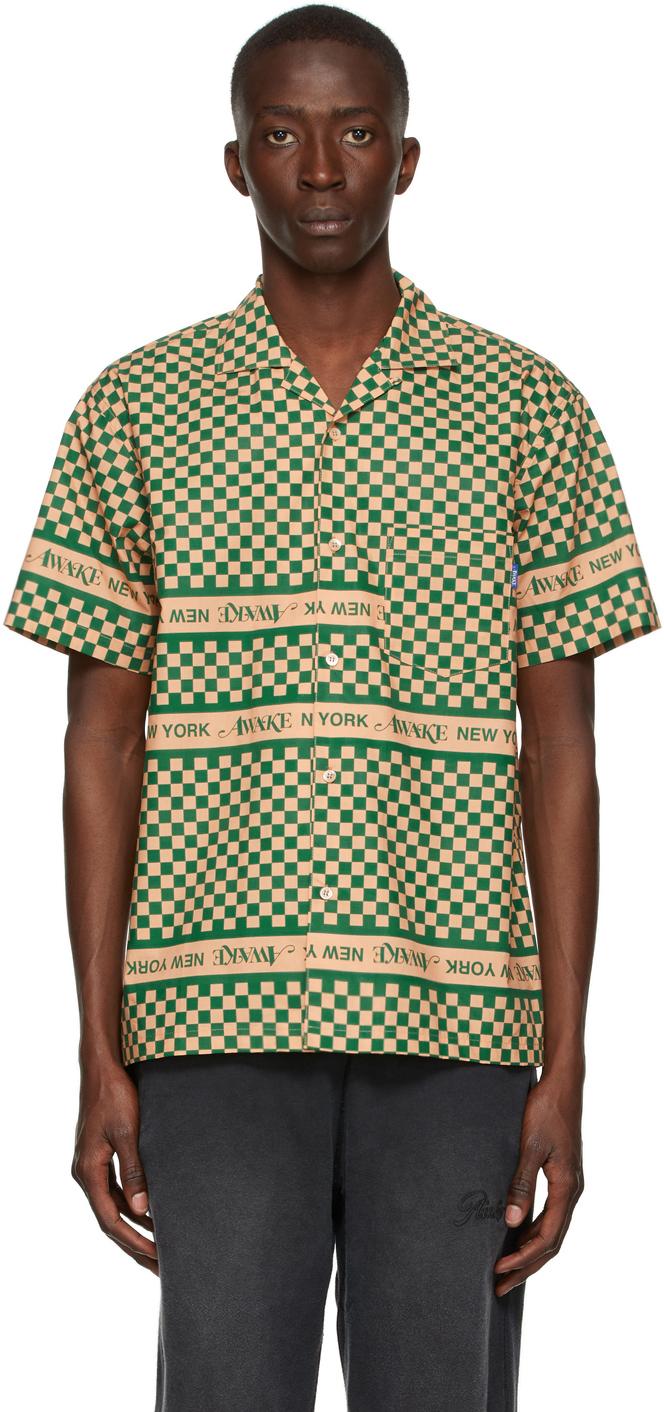 Green & Beige Checkerboard Logo Short Sleeve Shirt