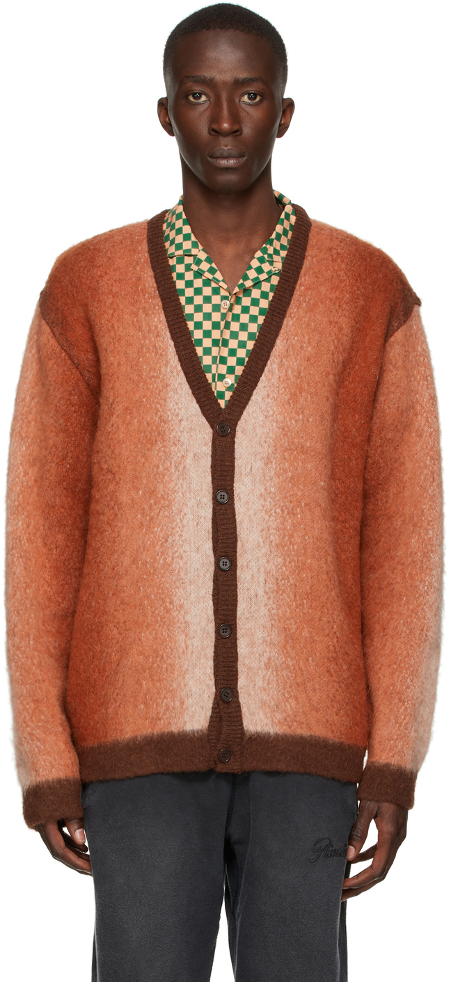 Brown Mohair Ombre Cardigan