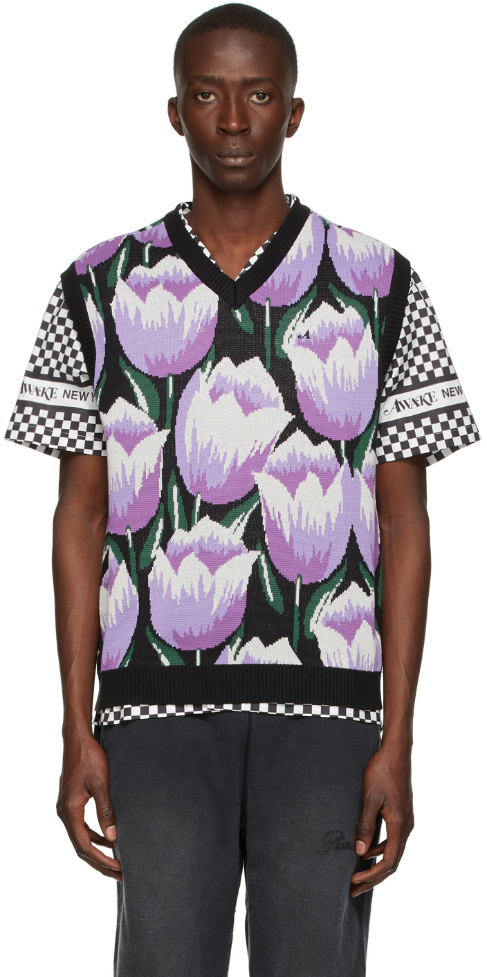 Black Knit Tulip Vest