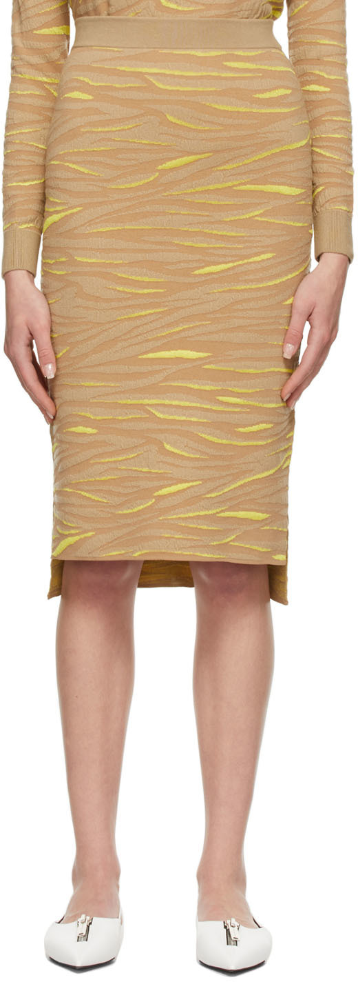 Beige & Yellow Animal Pattern Skirt