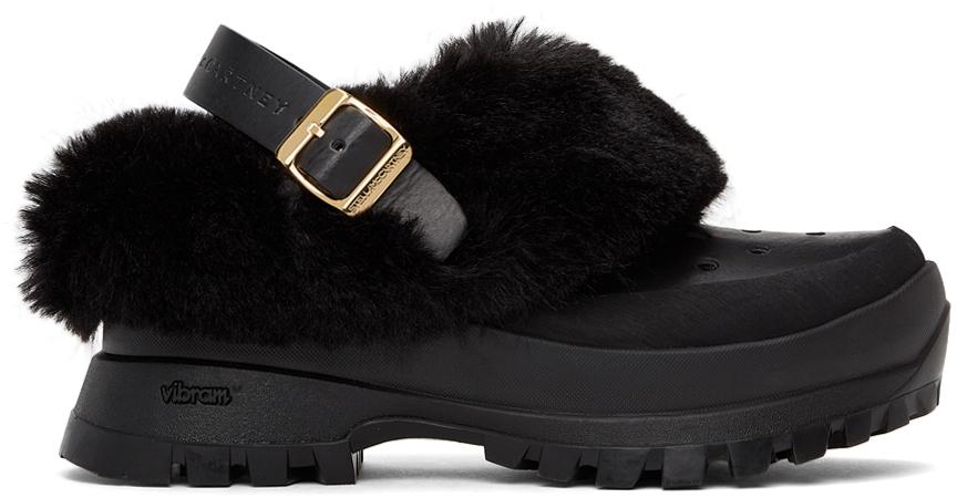 Black Fur Free Fur Trace Clogs