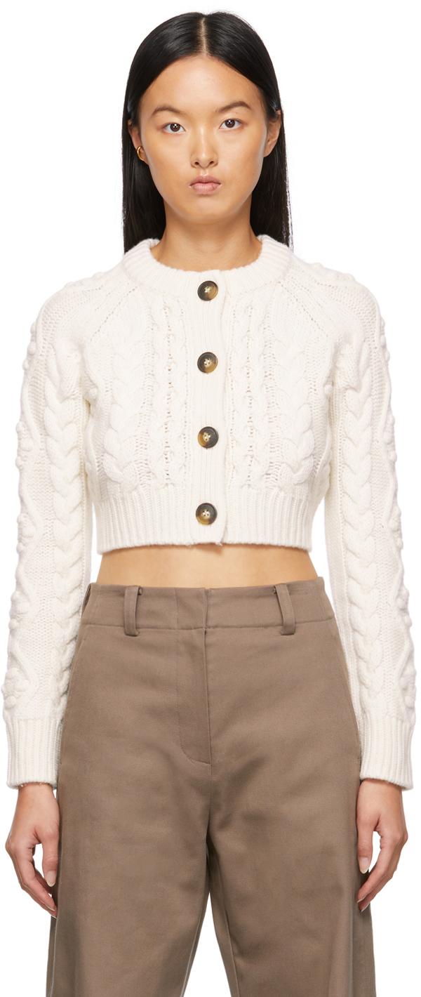 White Abaco Cropped Cardigan