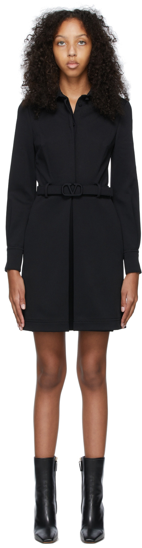 Black Compact Jersey VLogo Dress