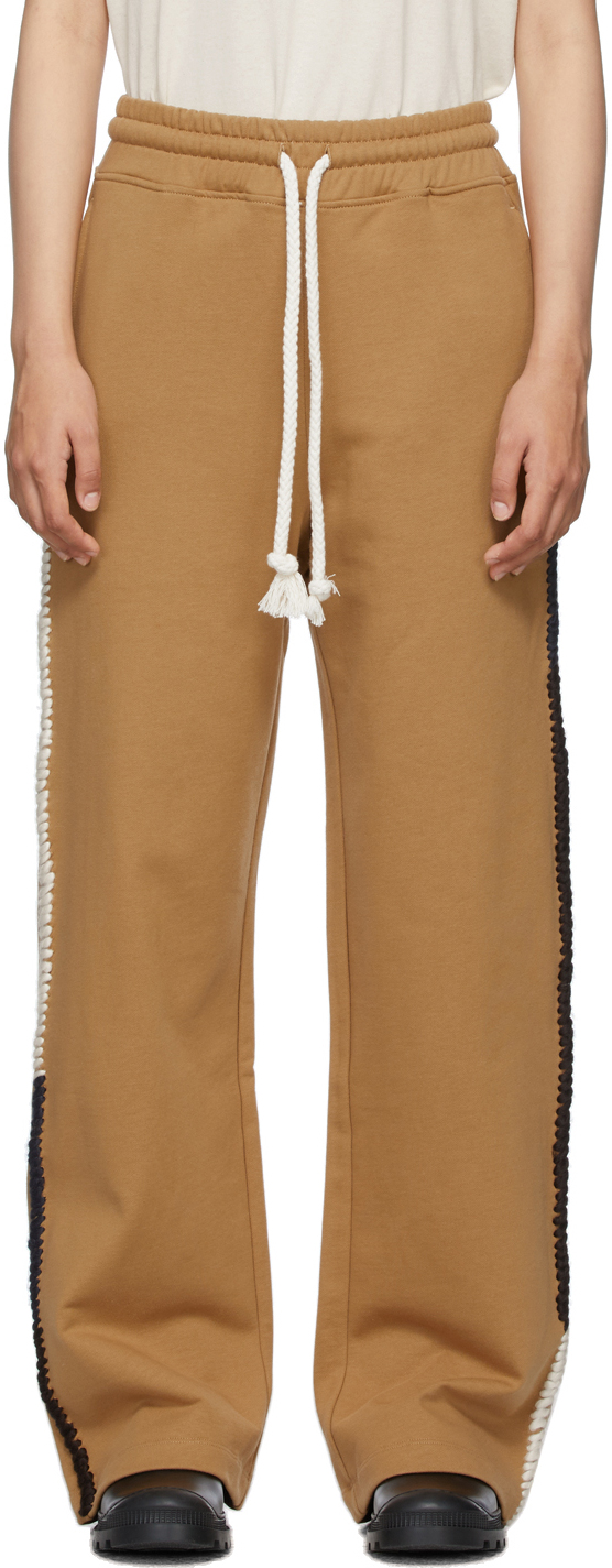 Brown Contrast Stitch Lounge Pants