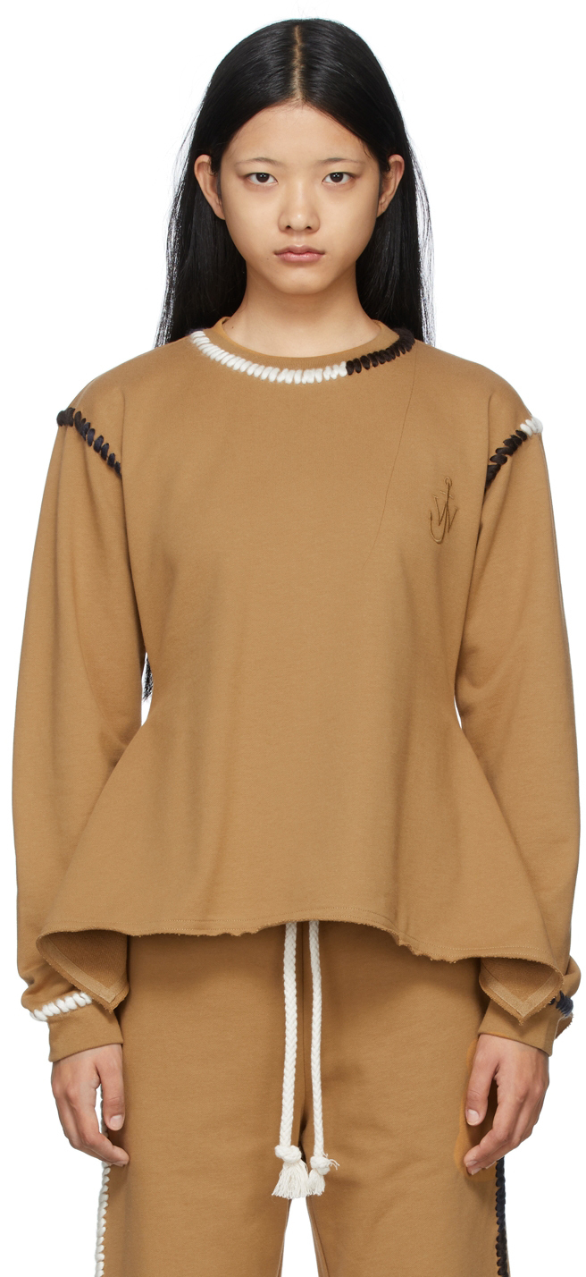Brown Contrast Stitch Sweatshirt