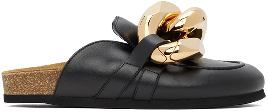 Black Leather Curb Chain Loafers