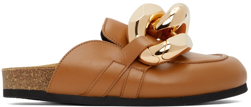 Tan Curb Chain Loafers