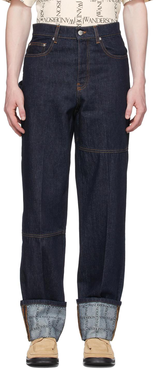 Indigo Logo Grid Turn Up Workwear Jeans