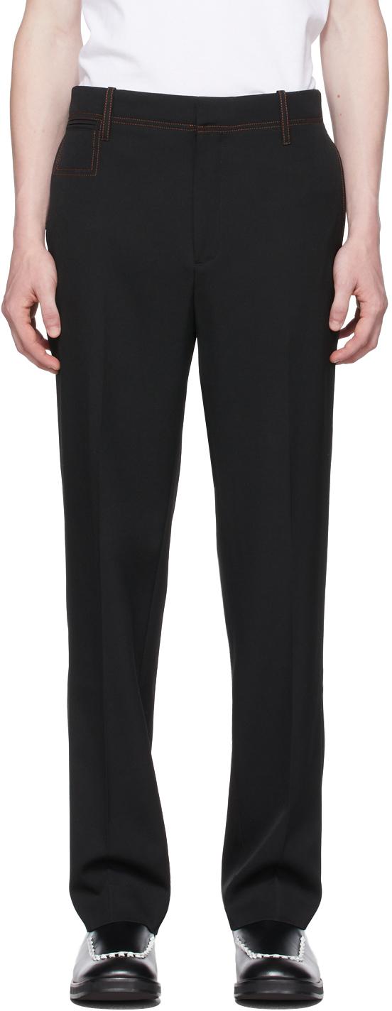 Black & Orange Contrast Slim Leg Trousers