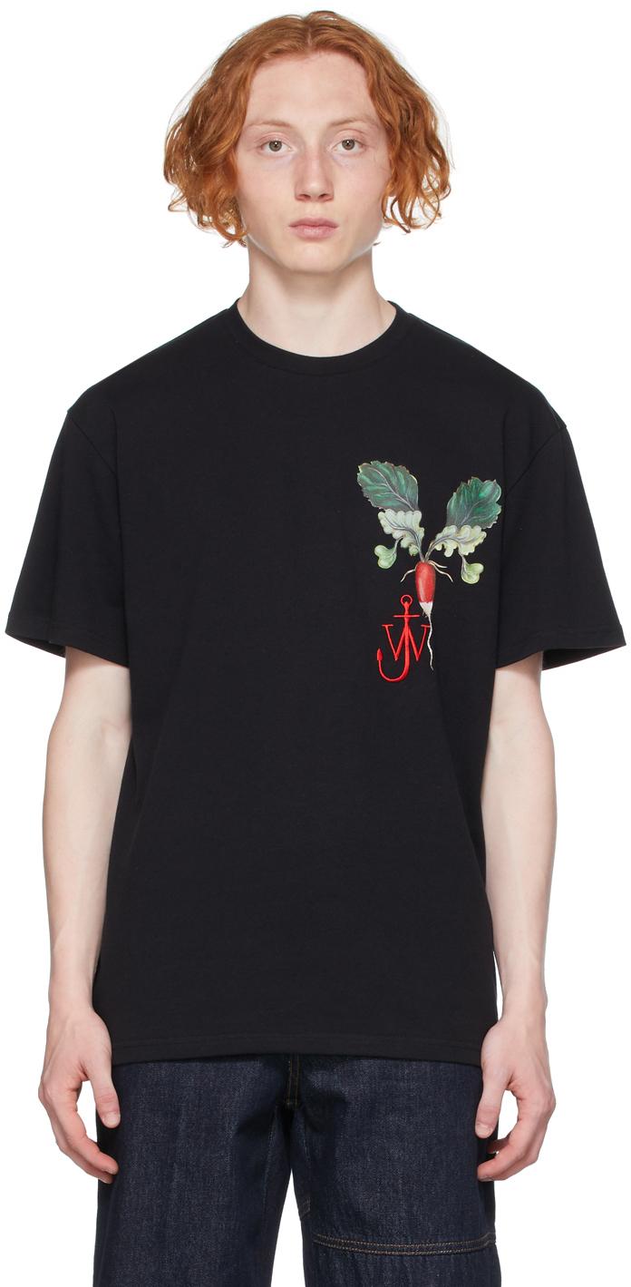 Black Printed Veggie Logo T-Shirt