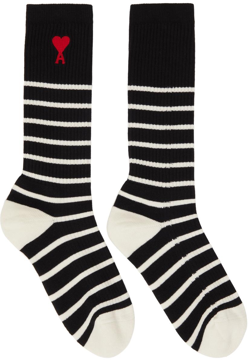 Black & Off-White Striped Ami de Cœur Socks