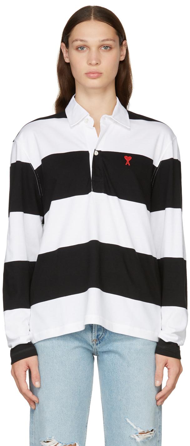 Black & White Striped Ami de Cœur Long Sleeve Polo
