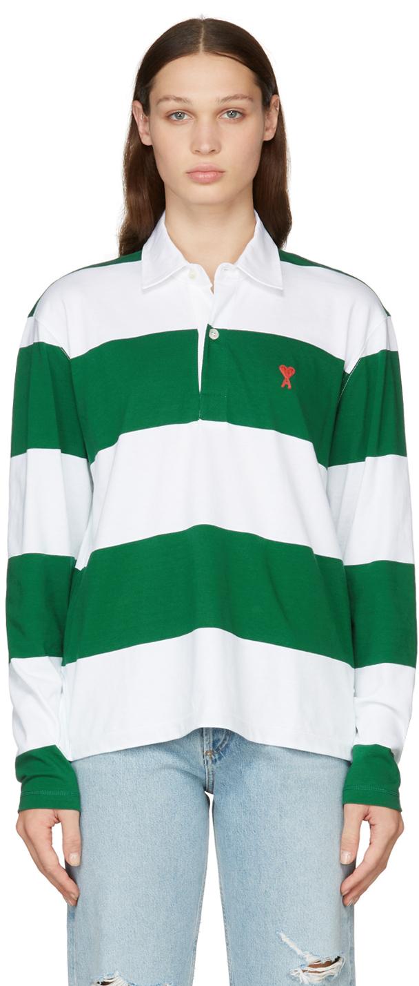 Green & White Striped Ami de Cœur Long Sleeve Polo
