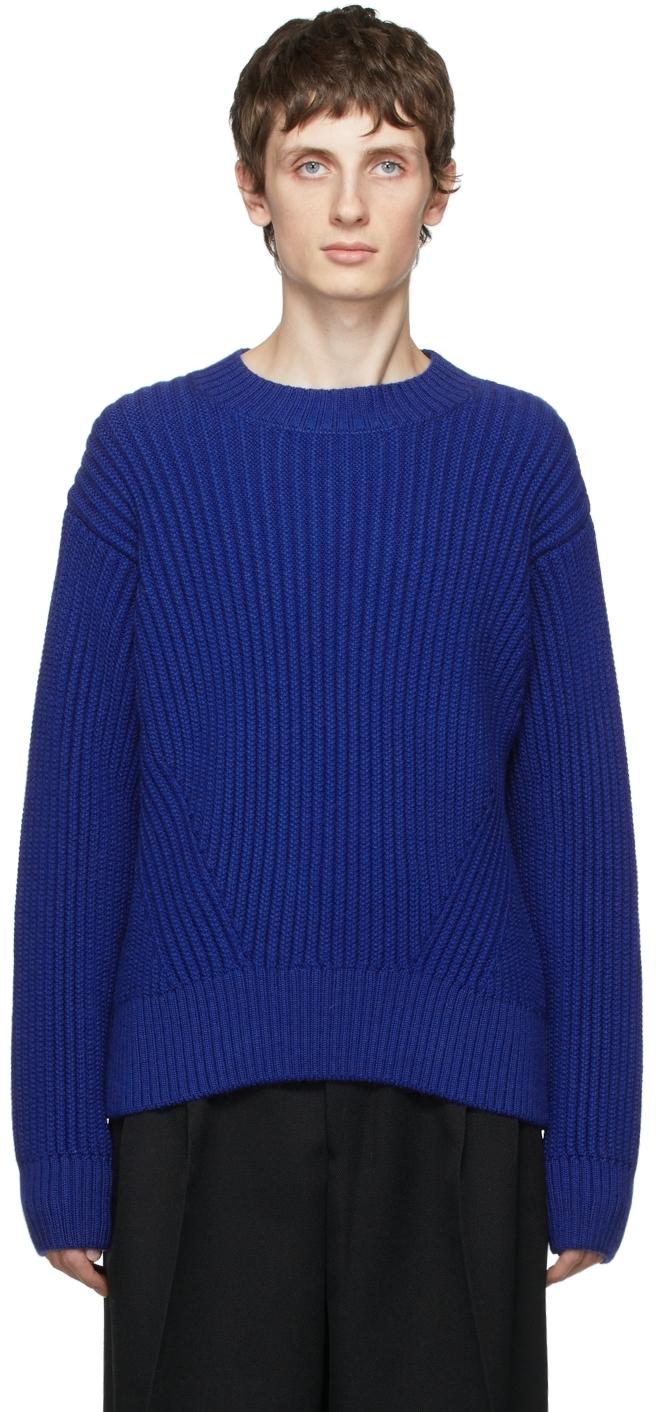 Blue Virgin Wool Rib Boxy Sweater