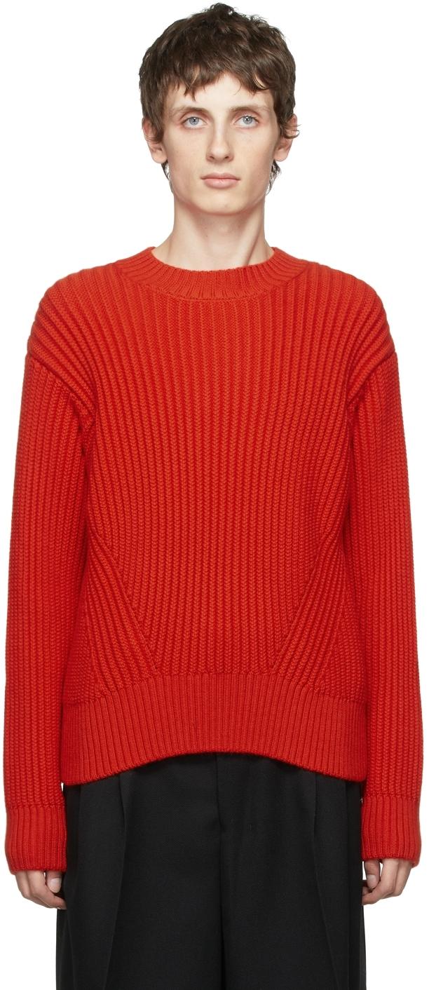 Red Virgin Wool Rib Boxy Sweater