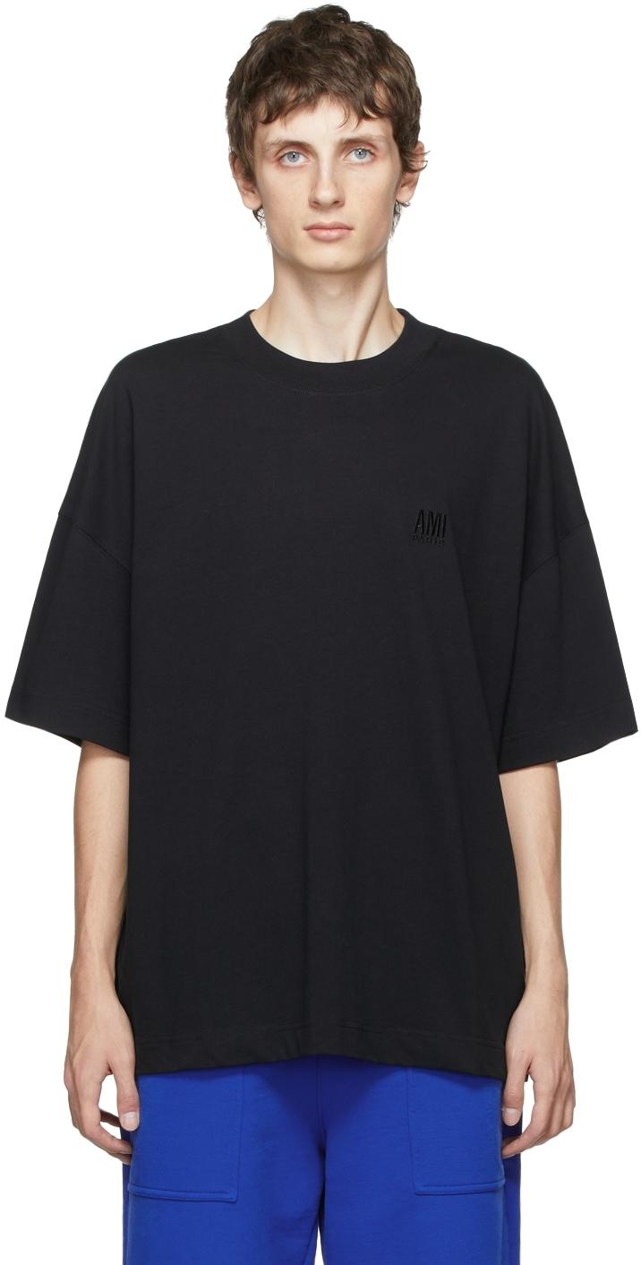 Black Embroidered Logo Oversize T-Shirt