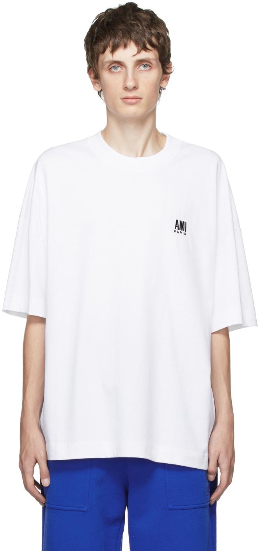 White Embroidered Logo Oversize T-Shirt