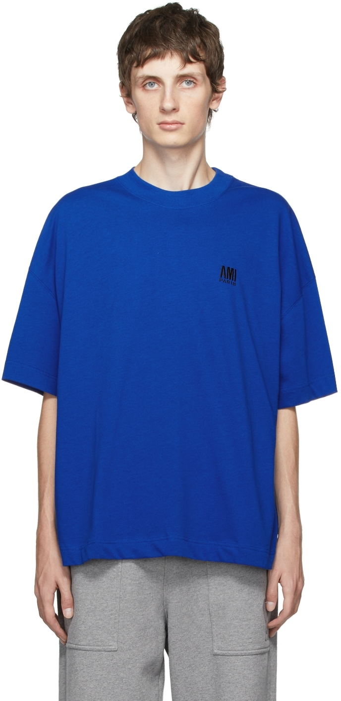 Blue Embroidered Logo Oversize T-Shirt