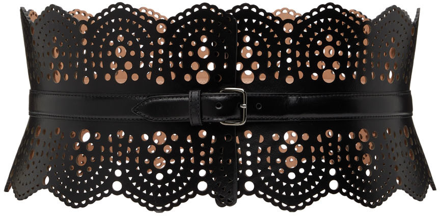 Black Openwork Bustier Belt