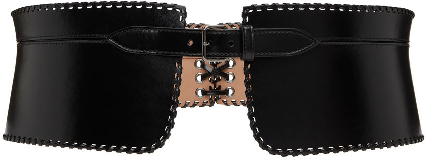 Black Evasee Lacee Corset Belt