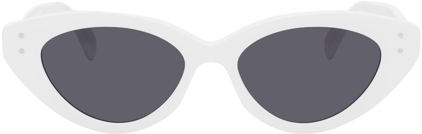 White Slim Cat Eye Sunglasses