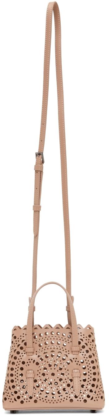 Beige Micro Mina 16 Top Handle Bag