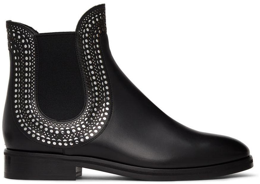 Black Vienne Motif Chelsea Boots