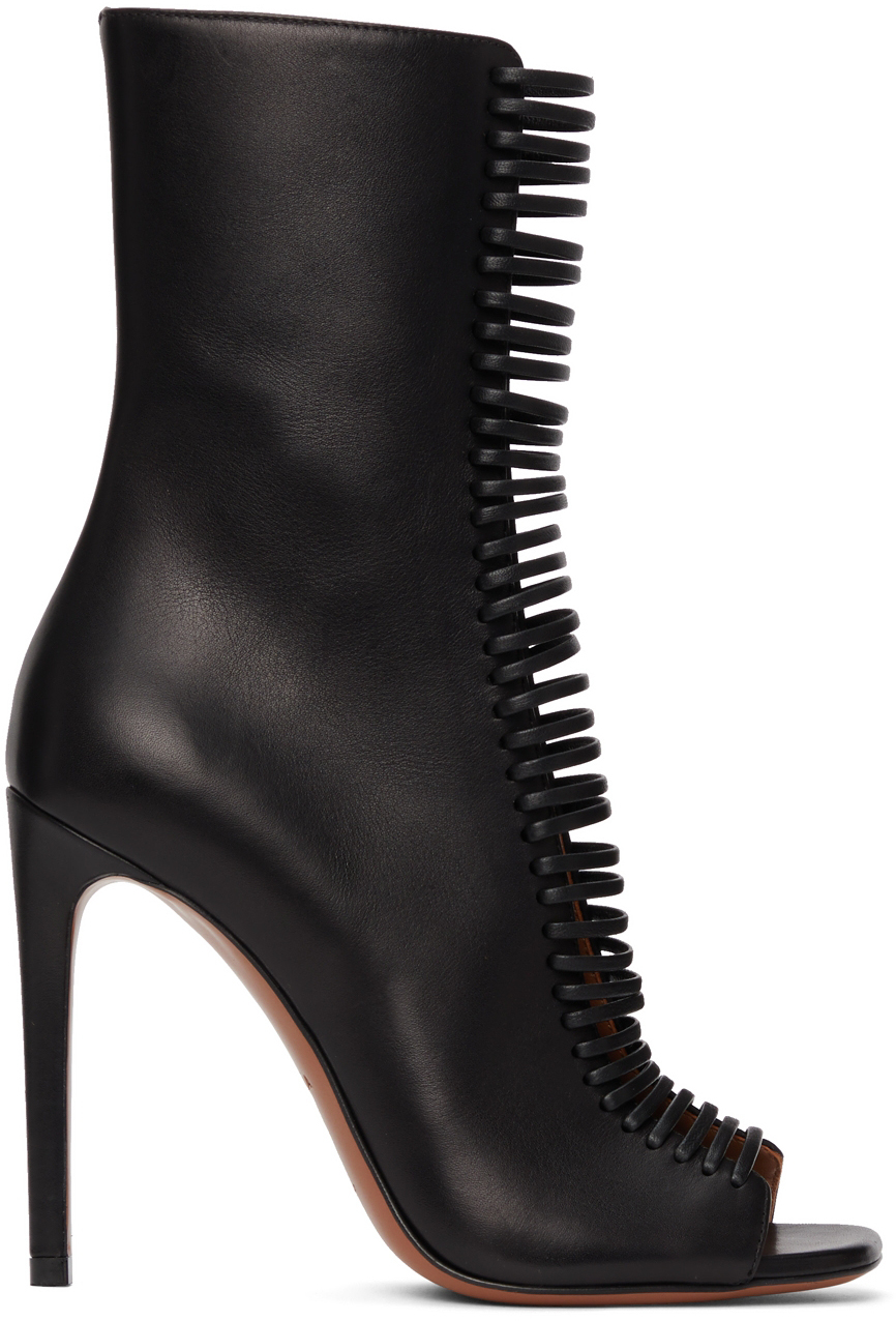 Black Leather Lace-Up Heels