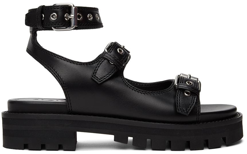 Black Platform Flat Sandals