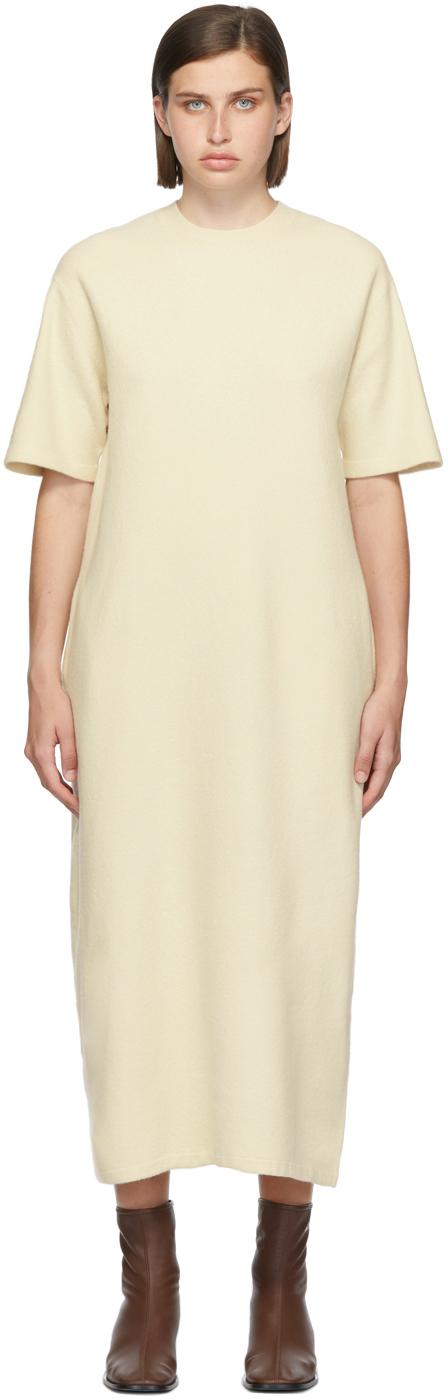 Beige Felted Wool Half Sleeve Long Dress