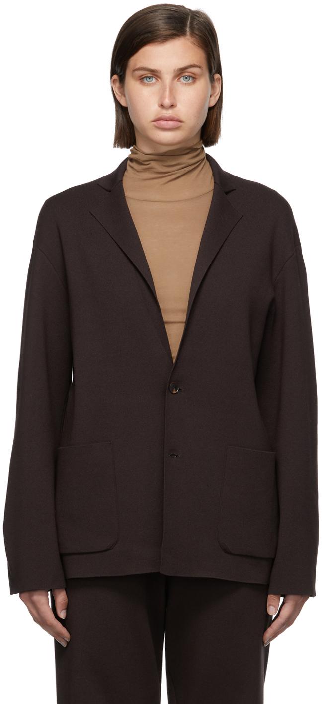 Brown Super High Gauge Knit Blazer
