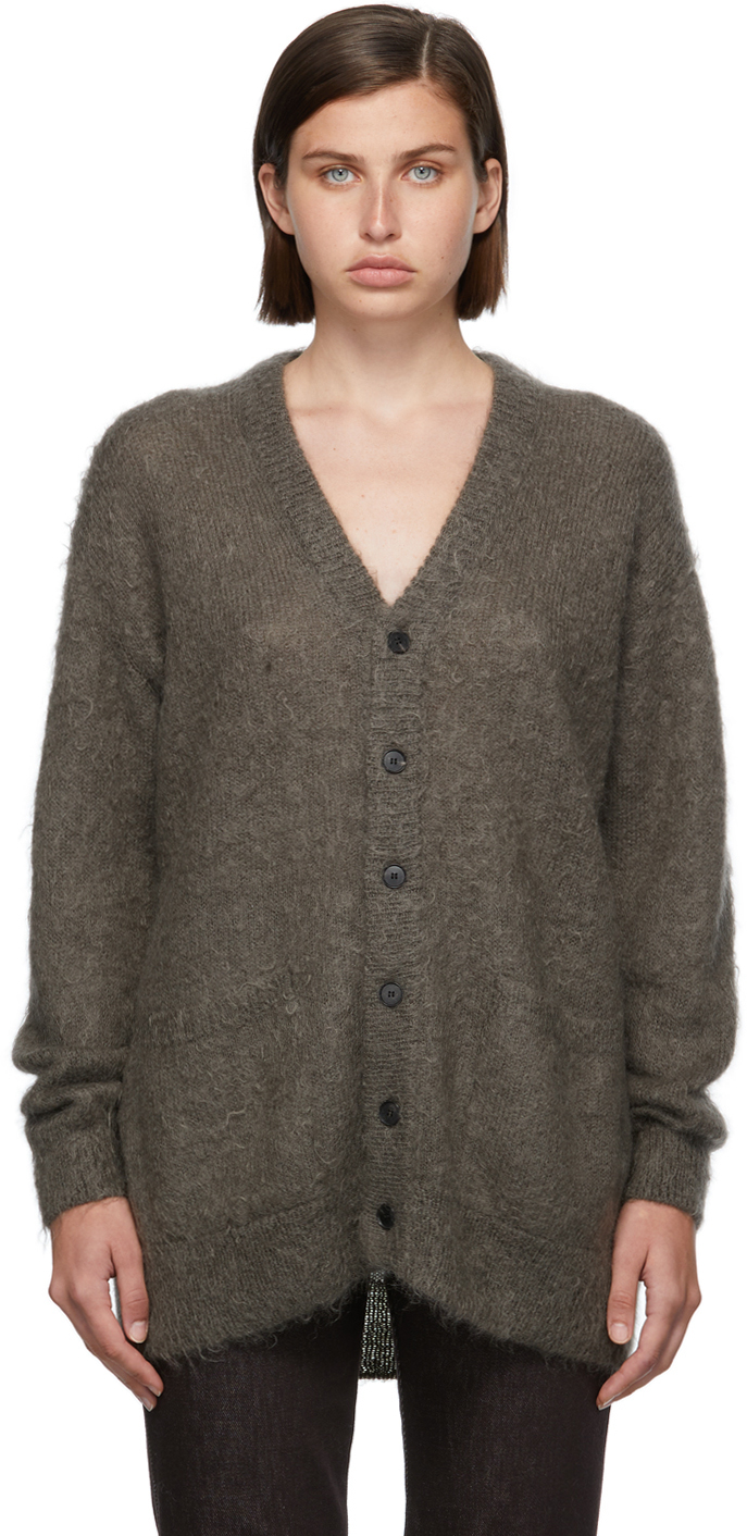 Grey Mohair Knit Cardigan