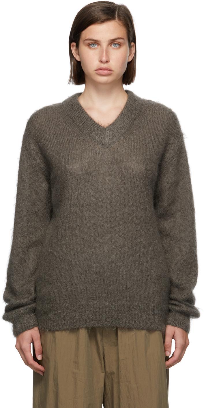 Grey Mohair V-Neck Sweater