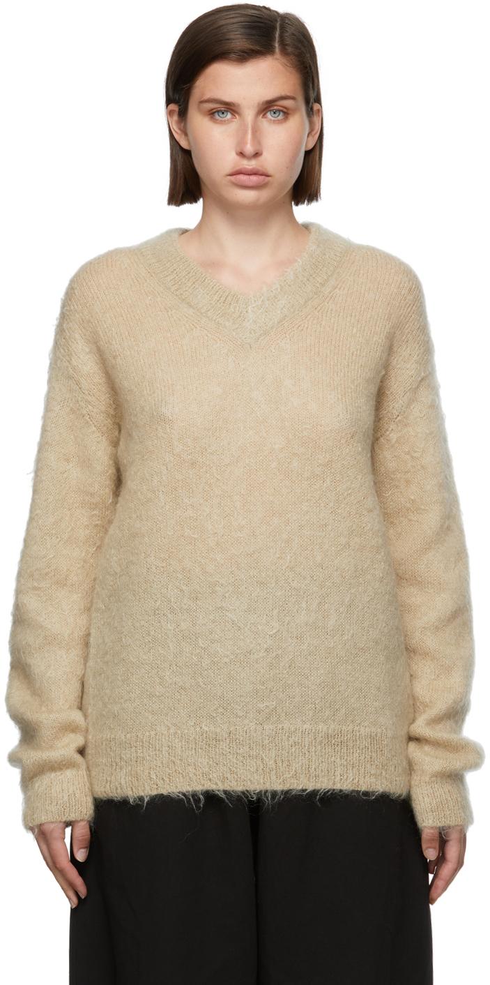 Beige Mohair V-Neck Sweater