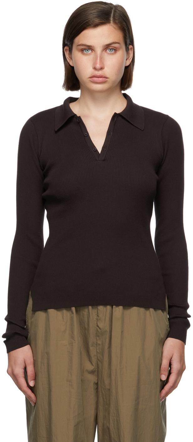 Brown Rib Knit Giza Long Sleeve Polo