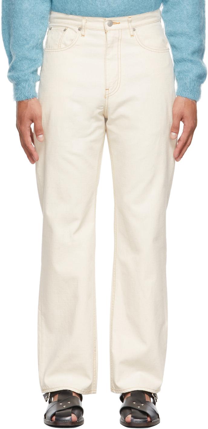 Beige Canvas Five-Pocket Jeans