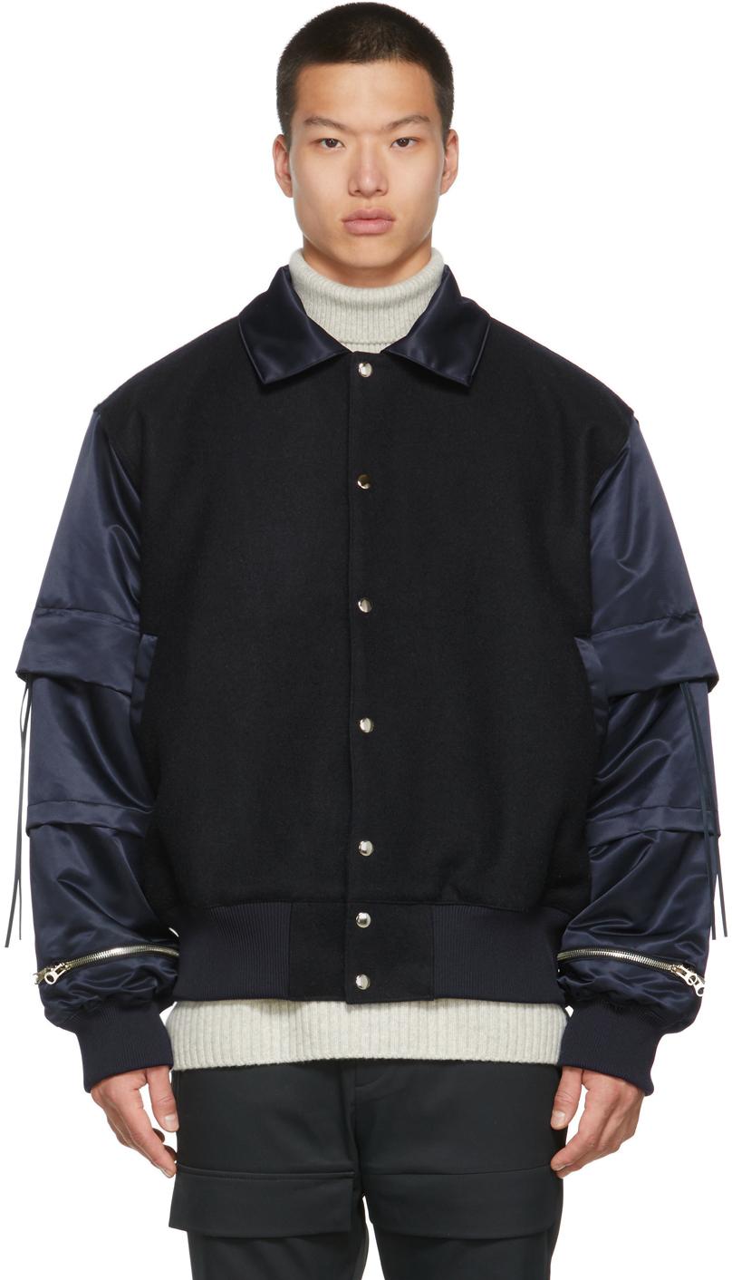 Navy Padded Varsity Jacket