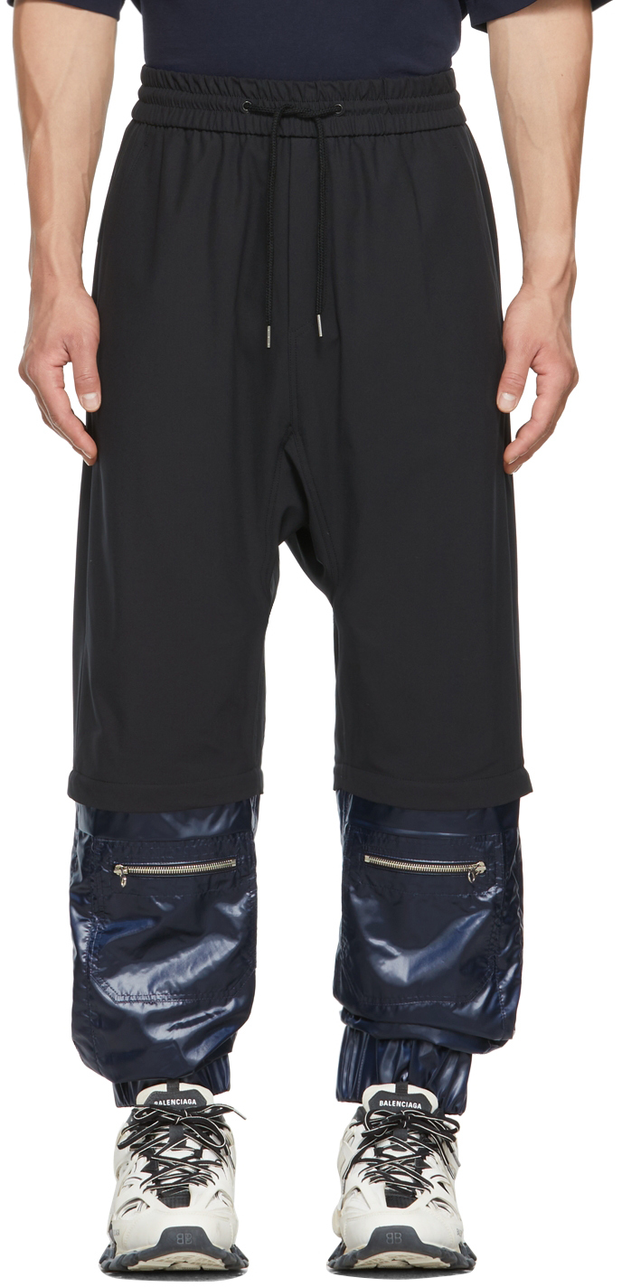 Black & Navy Cuffed Lounge Pants
