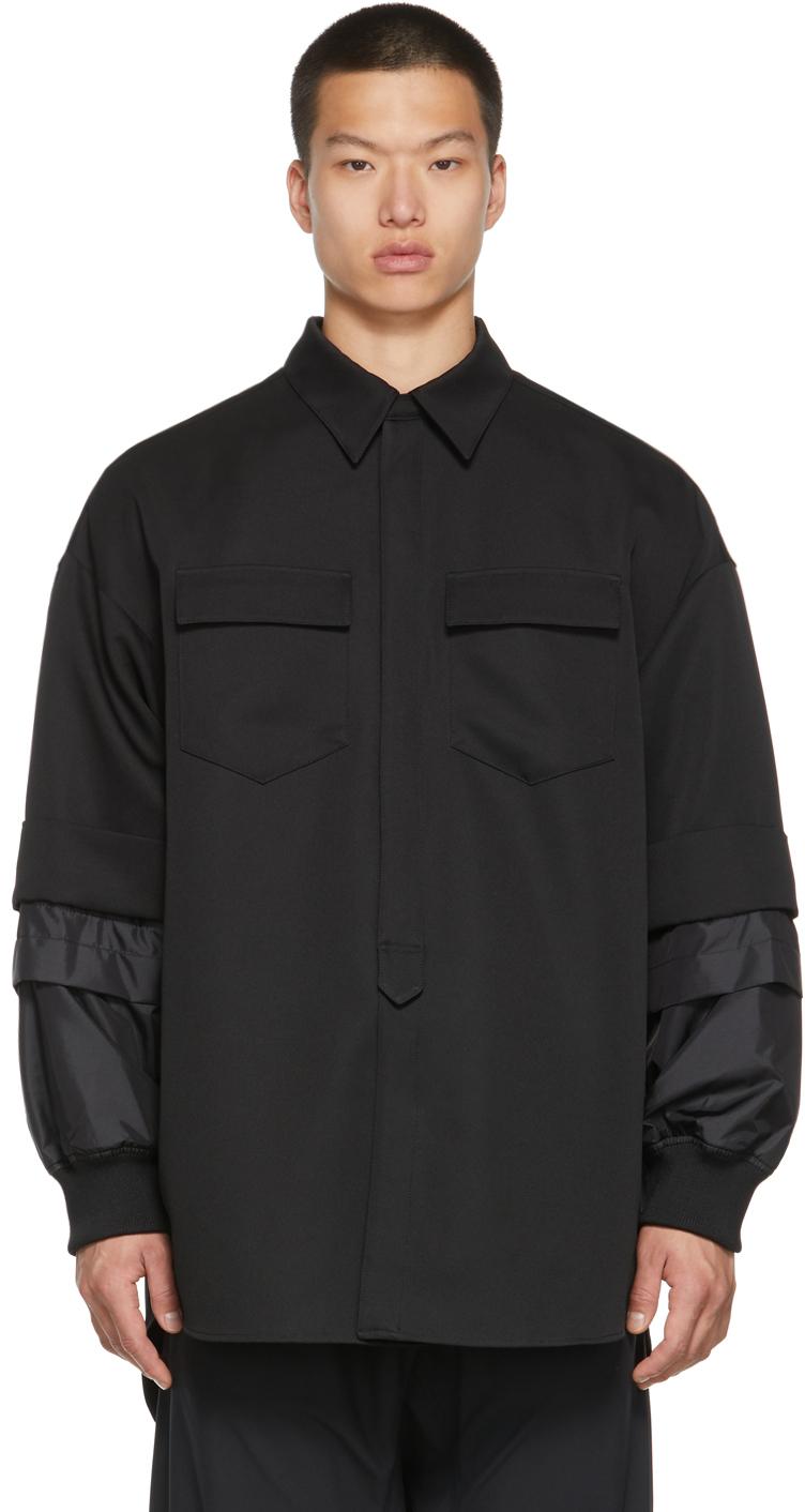 Black Detachable Sleeve Shirt