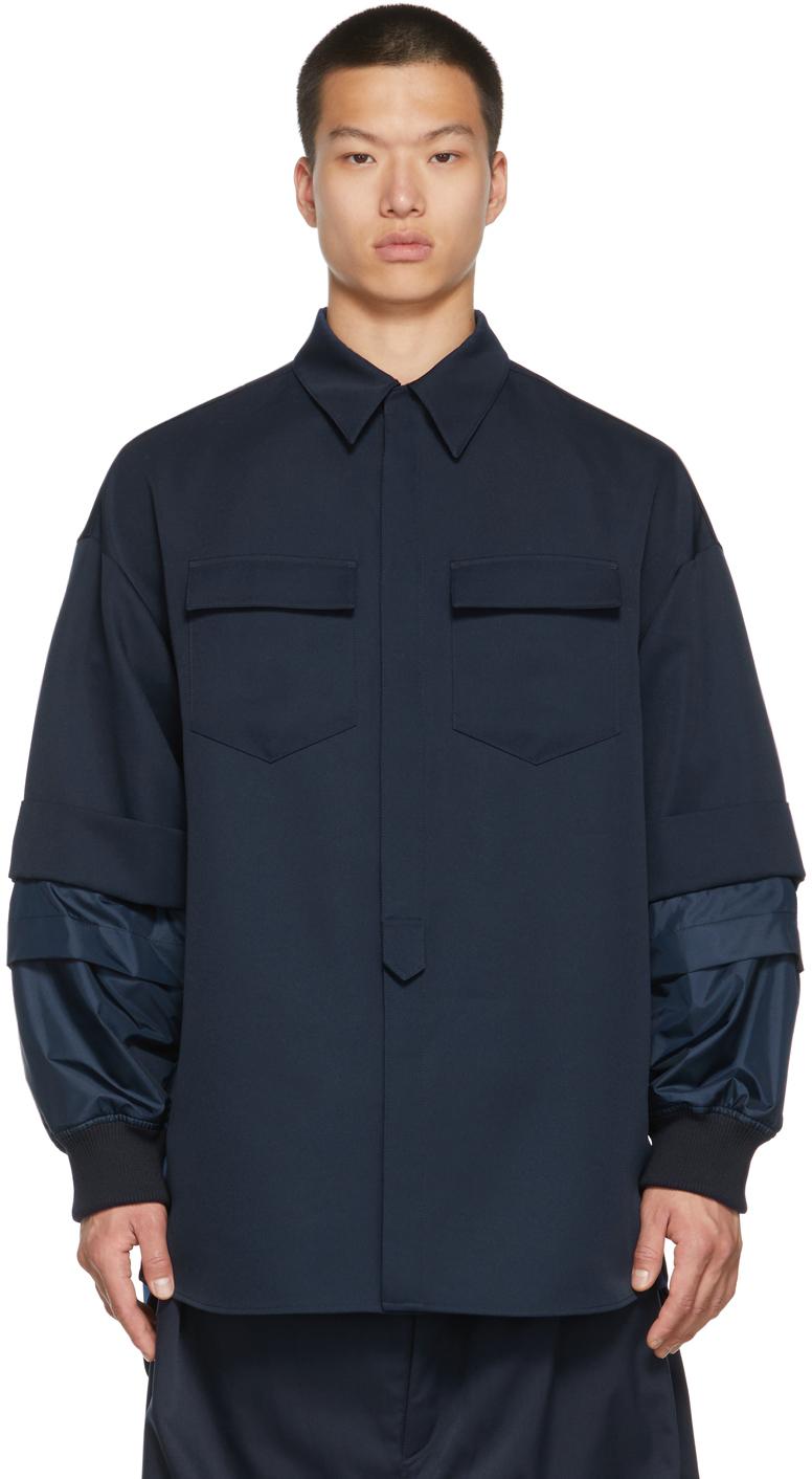 Navy Detachable Sleeve Shirt