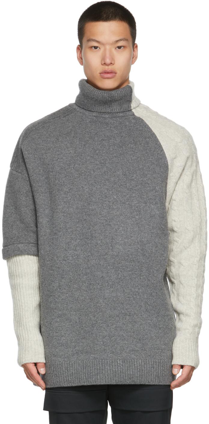 Grey Wool Colorblock Turtleneck